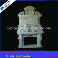 Beautiful White Marble Fireplace Mantel With Statues For Home SYDK-226