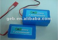 Rechargeable Cylindrical Li polymer battery pack 7.2V 4000mAh