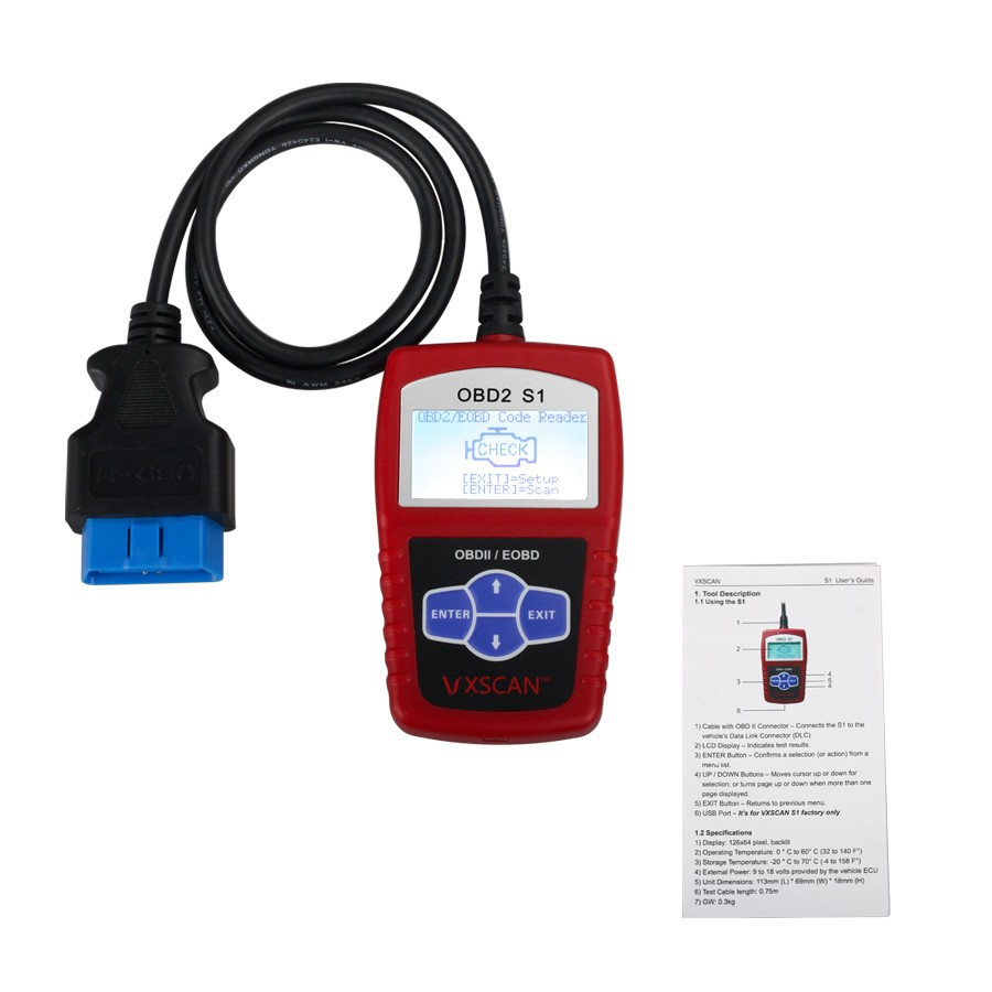 Original VXSCAN S1 EOBD OBDII DIY Code Reader With English Spanish and French Languages