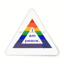 Hot sale I Am Peace, Rainbow Triangle Stickers small sticker printing machine