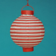 stripe print LED lamp battery operated paper lanterns