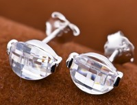 Crazy Selling Faceted Crystal Horse eye Earring Studs 925 Sterling Silver Earring