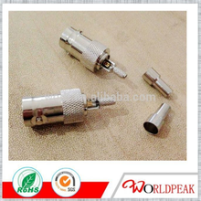 made in china free samples bnc crimp male plug solderless rf connector with screw cctv