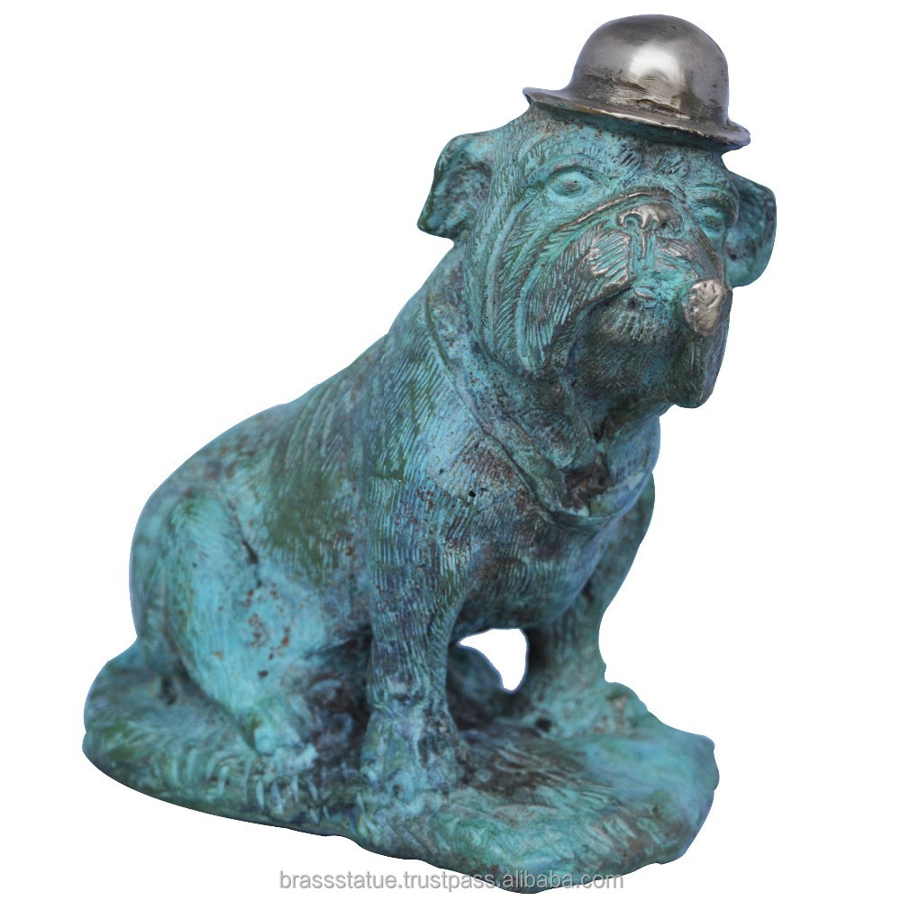 Animal Sculpture Dog with hat a handmade brass artware for home or office decor