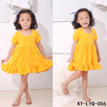 Wholesale boutique cotton plain yellow puffy girl simple dress for kids