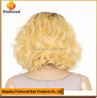 Light brown hair honey with light blond color human hair lace front brazilian wavy hair wig