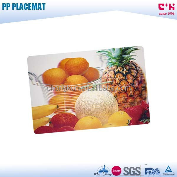 Manufacture of 3D PP lenticular fruit placemat kitchen decoration cutting mat