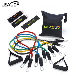 Leajoy 2017 High Quality 11pcs Latex Resistance Band set With Foam Handles For Abs Exercise Workout Fitness Kits