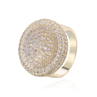 Vintage Super Luxury Cocktail Ring Round Shape Micro Pave Cubic Zirconia Halo Silver Wedding Ring Anel Bgaue Free Gift VI08