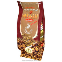 four sides sealed plastic coffee pouch, coffee bag with side gusset, plastic coffee pouch with your design