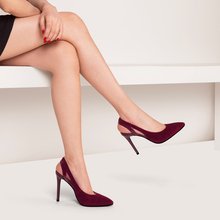 A0130 competitive price black and wine red suede leather slingback ladies high heel leather shoes women