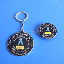 community health advisor keychain and lapel pins blue ribbon badge key ring