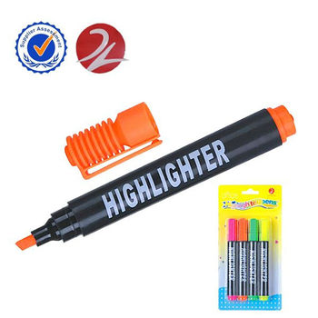 fluorescent pen, classic highlighter marker with clip