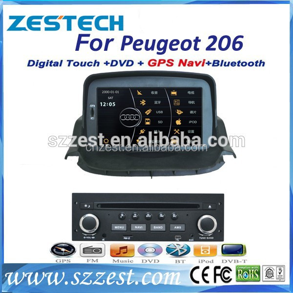 gps for car multimedia player for Peugeot 206 with usb sd tv radio