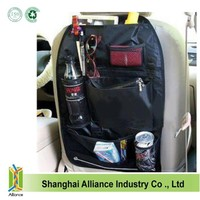 China bag factory offering black polyester backseat organizer for storage baby toys, back seat tray car organizer for travel