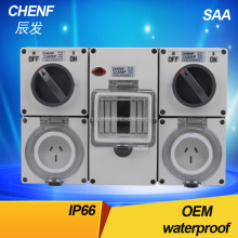 High quality waterproof switch socket 15A industrial combination switch socket box with light