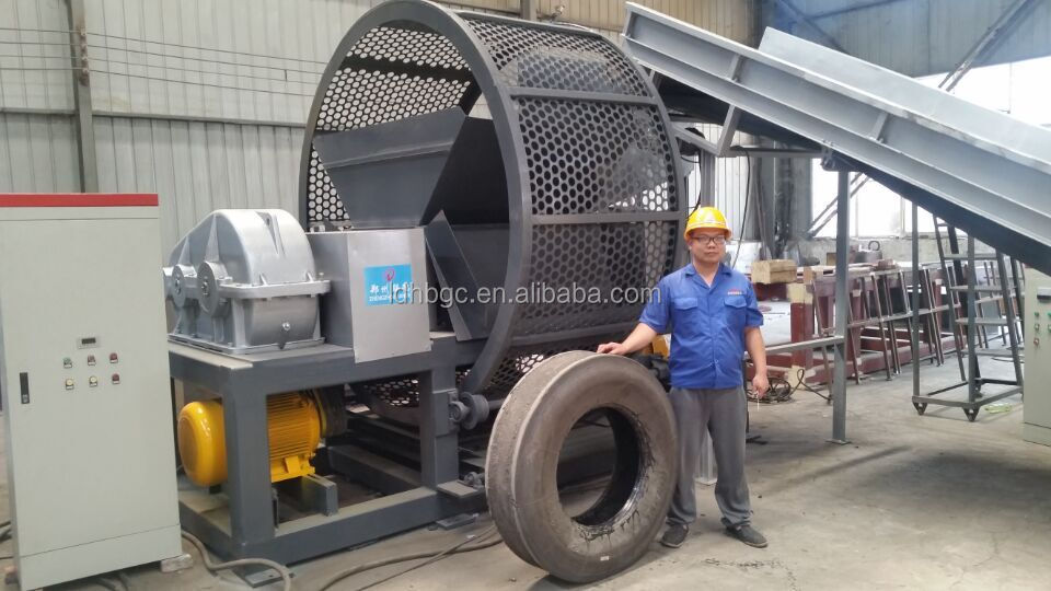 Heavy duty 1200 model waste tire shredder and recycling machine with high capacity