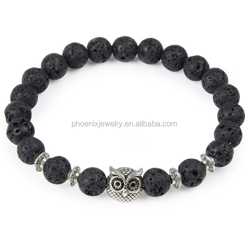 Best Selling Products Natural Agate Stone 8mm Beaded Strentch Elastic Bracelet,Owl Charm Bracelet,Lion Head Bead Bracelet