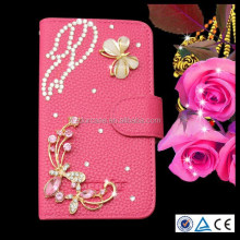 DIY Bling diamond flip wallet pu leather cover case for lenovo A516