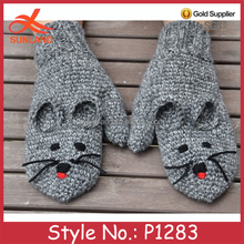 P1283 winter hand knitted cute animal mouse gloves mittens wholesale