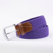 Wholesale customized 2014 womens braided elastic belt mens woven elastic cotton canvas leather stretch blet hemp belt