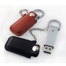 16gb black leather usb flash drive with keychain