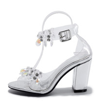 Luxury Sexy Shiny Crystal Breathable Electronic Heel Plastic Sandals Transparent Shoes