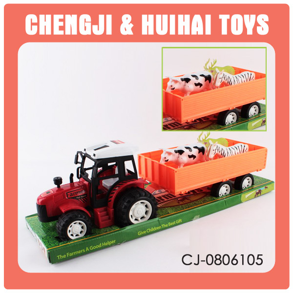 Plastic mini friction farm tractor toys with cow and sheep