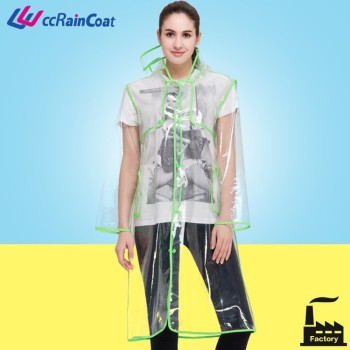 fashion for women or sexy girls full length 100% eva hooded transparent rain coat