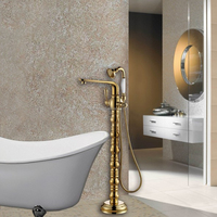 Gold Plated Solid Brass Bathroom Fancy Freestanding Bathtub Faucet BHF017