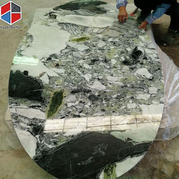 200cm long oval green marble coffee table
