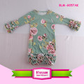 Boutique Long Sleeve Icing Ruffle Raglan Gown Floral Cotton Baby Sleeping Raglan Ruffle Gowns