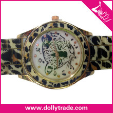 2015 New Design Crystal Waterproof Rubber Leopard Watch