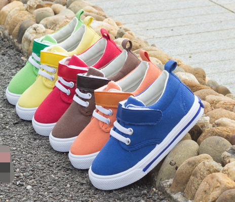 FC2486 stock shoes cheap Candy Pure color childrens canvas footwears kids footwears