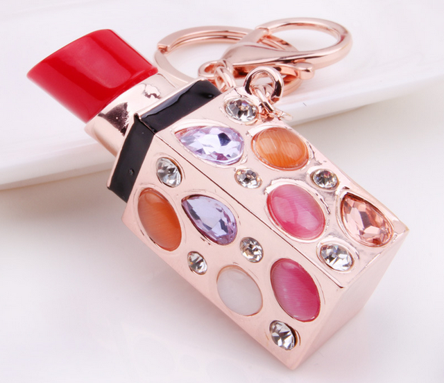 Fashion Cosmetic Key Chain Crystal Lips Lipstick Keychain Charm Purse Bag Key chain Ring