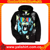 Personalized printed stylish comfort black zipper cotton fleece men big hood hoodies