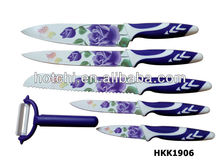 6pcsknife set with flower printing rose knife