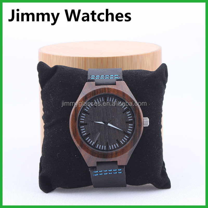 Custom Logo Watch bamboo Leather Band Men's Fashion Watches
