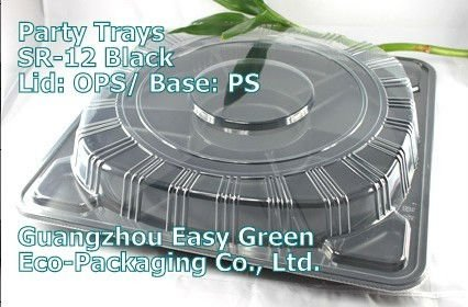 Large Disposable Plastic Party Sushi Tray with 6 Compartments SR-12