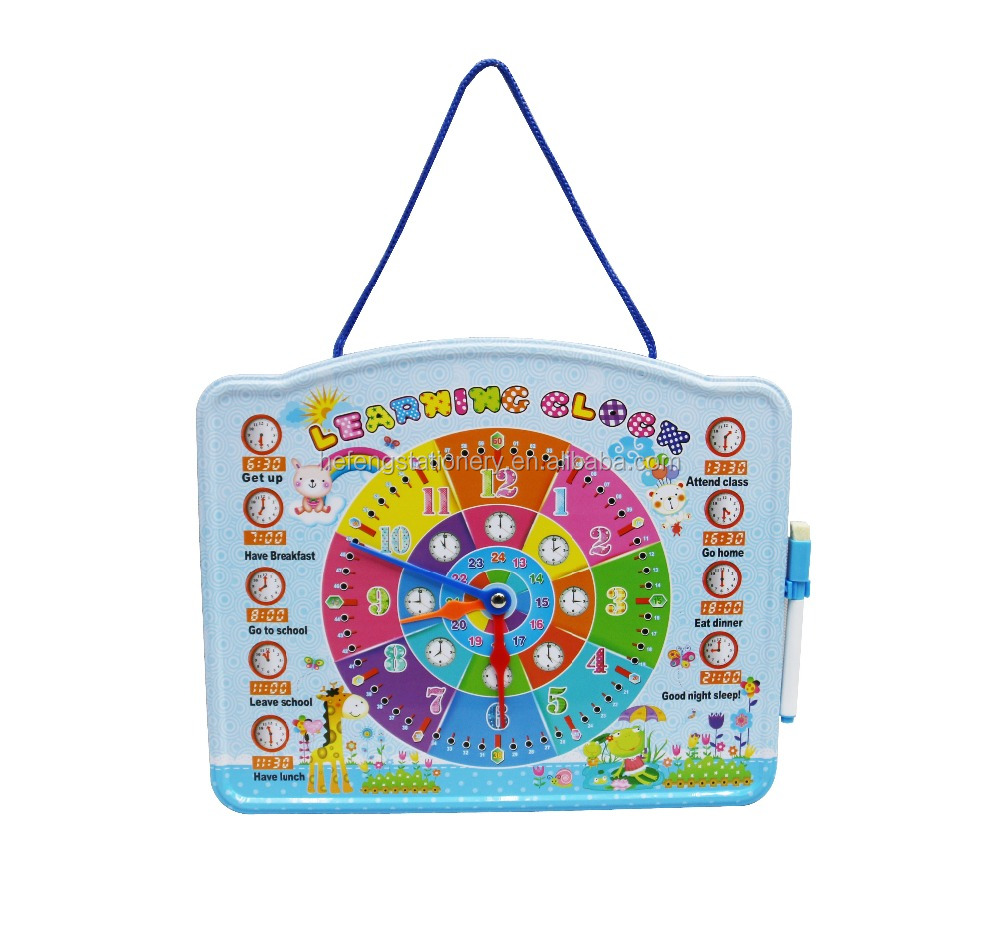 Promotion gift toy big kids magnetic writing board with clock Educational Toys