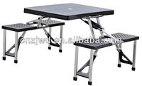 Black Plastic Table with 4 stool and Folding top