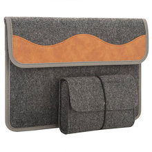 Shenzhen Supplier Envelope Design 13 inch Grey Felt Laptop Sleeve with leather