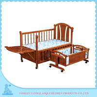 0289B Solid Pine Wooden Adjustable Softtextile Baby Swing Bed