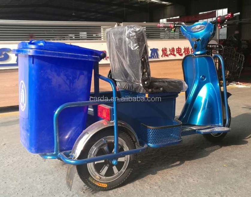 electric tricycle with removing dustbin for handling with rubbish
