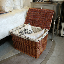 Large clothes basket handmade with lid laundry hamper rattan basket