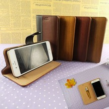 High quality sheep leather flip wallet stand case for all size phones wood leather accessories for apples wholesale