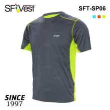 Fitness running custom twee tone lichtgewicht reflecting man mode ademend OEM t-shirts