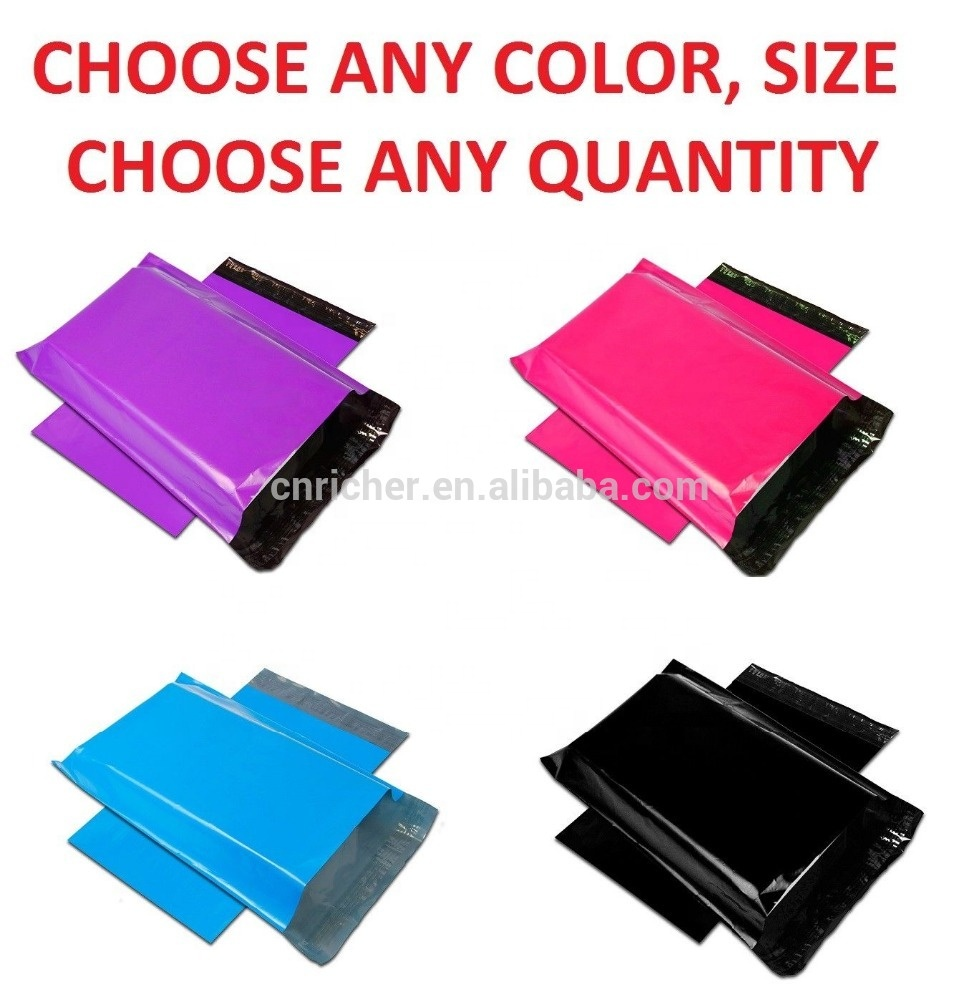 eco friendly custom plastic hot pink transparent biodegradable poly postage mailing bags courier satchels