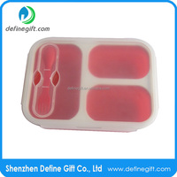 Non Stick Silicone Fruit Container Large Pack-Away 3 Compartment Collapsable Lunch Box