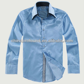 OEM 100% cotton men's long sleeve big high collar blank dress shirts